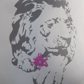 Marble lion screenprint